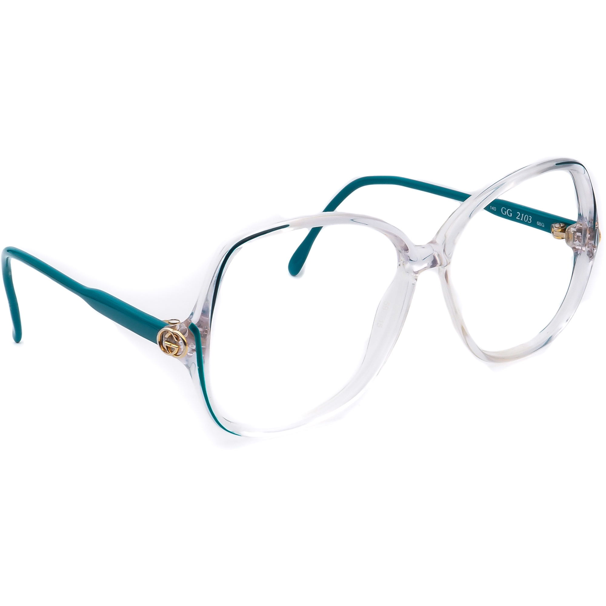 Gucci Eyeglasses Frame Only GG 2103 68G Clear/Turquoise Square Italy 59 mm