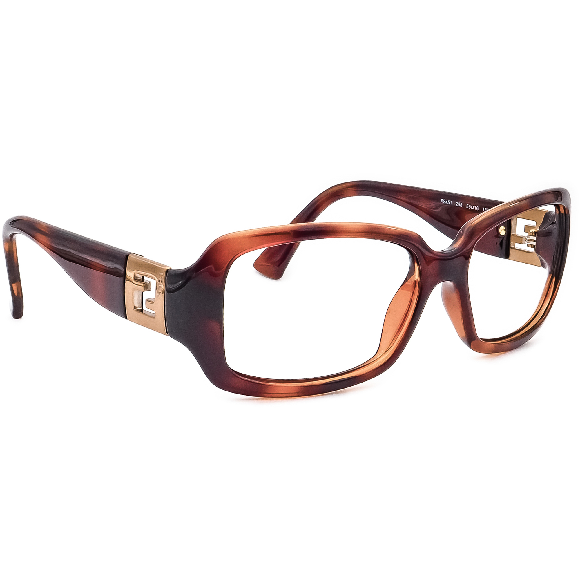 Fendi Women's Sunglasses Frame Only FS451 238 Dark Havana Rectangular Italy 56mm
