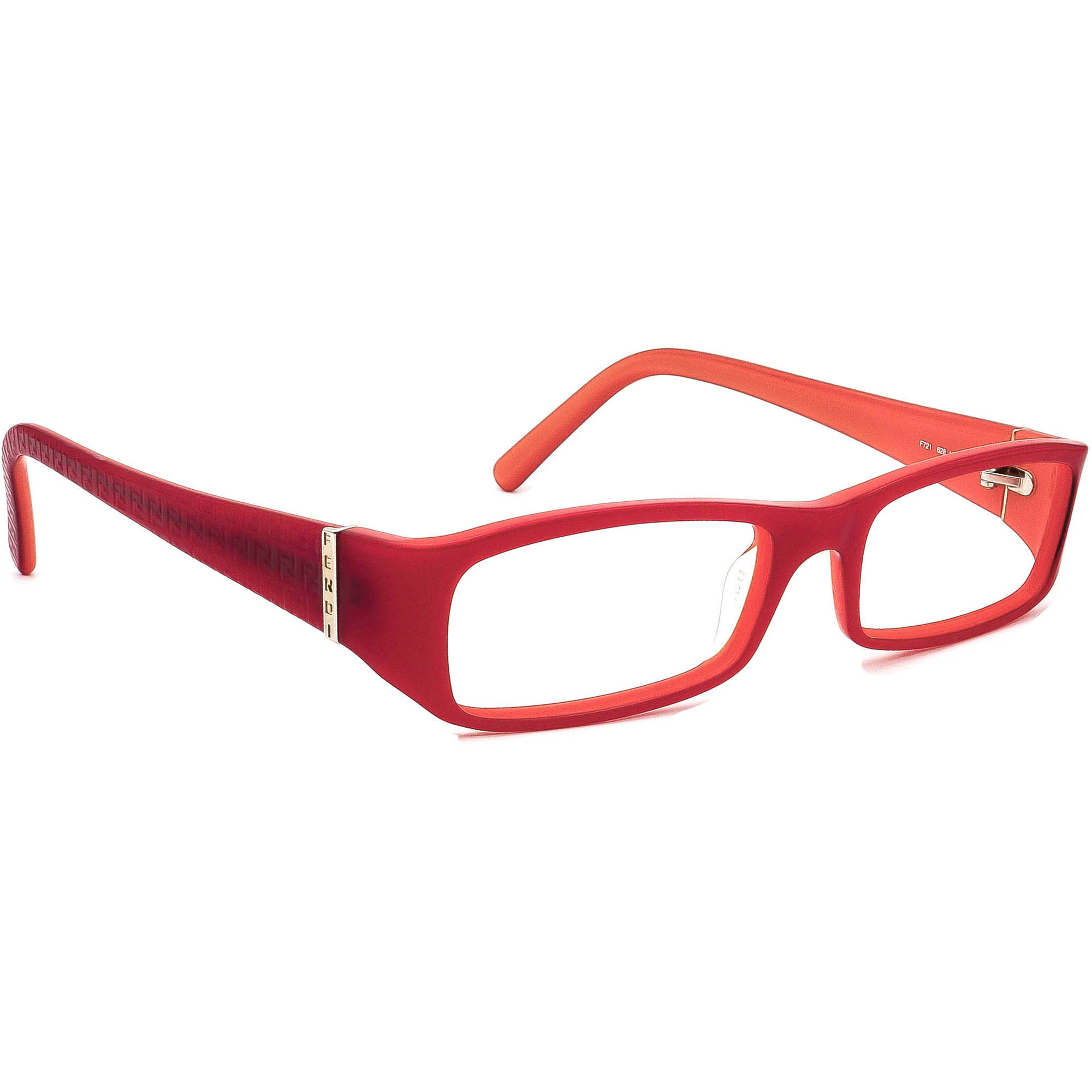 Fendi Women's Eyeglasses F721 628 Red/Orange Rectangular Frame Italy 53[]17 135