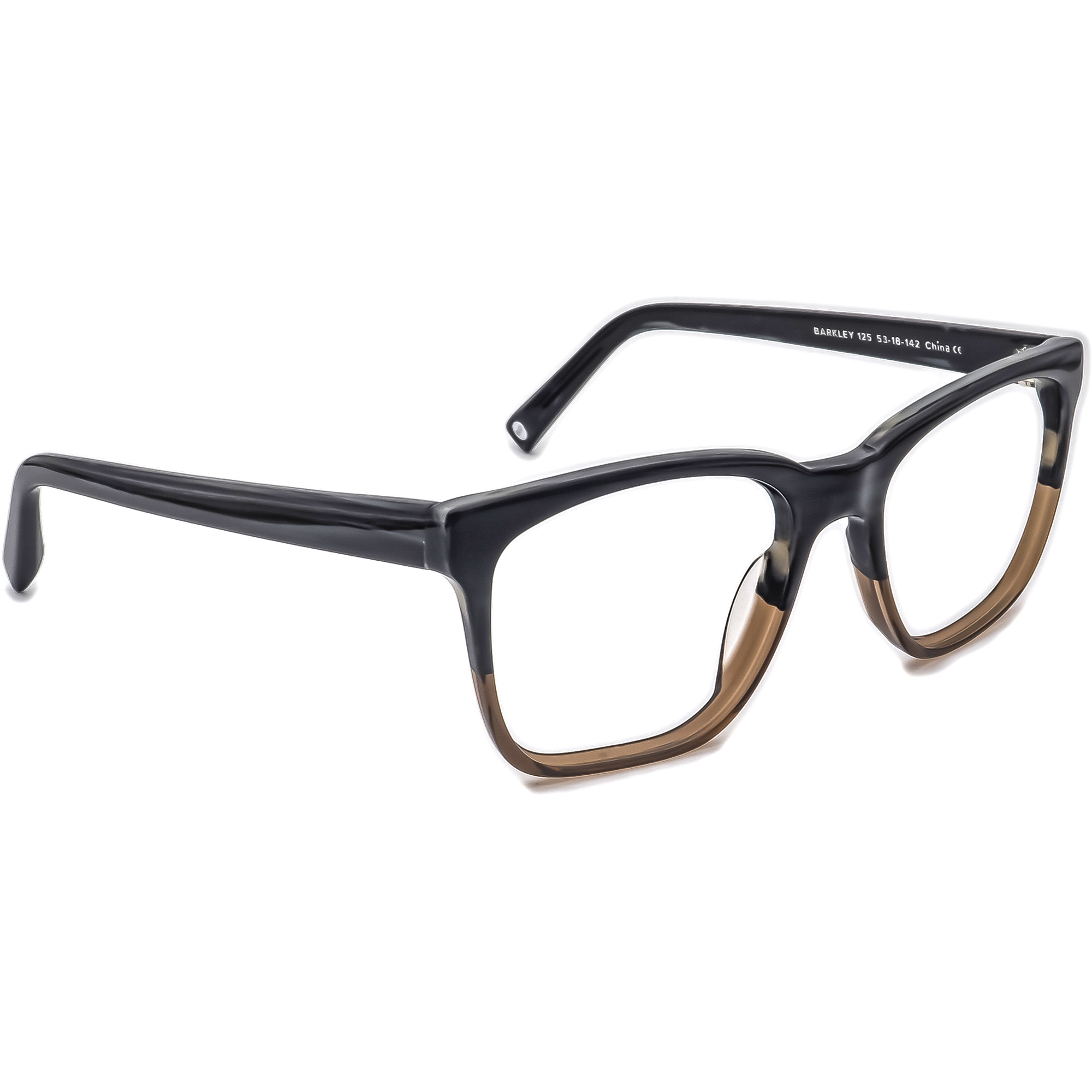 Warby Parker Eyeglasses Barkley 125 Striped Gray/Brown Square Frame 53[]18 142